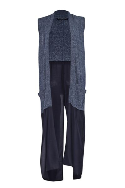 French Connection Emma Marl Long Sleeveless Cardigan