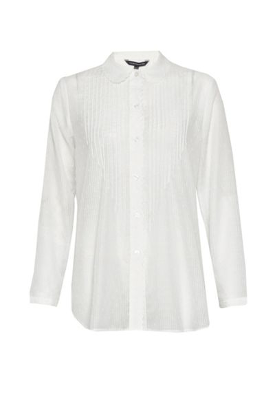 French Connection Dotty Sheer Scalloped Edging Shirt