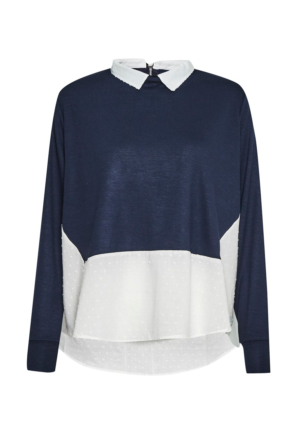 French Connection Dotty Mix 2 In 1 Jersey Jumper, Blue