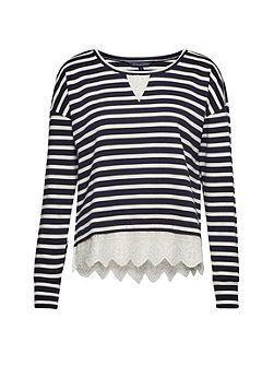 Annie Stripe And Broderie Back Top
