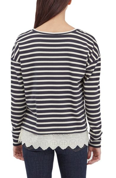 French Connection Annie Stripe And Broderie Back Top