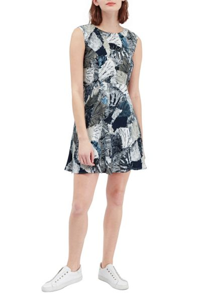 French Connection Lala Palm Fit and Flare Dress