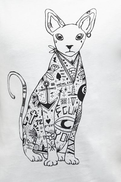 French Connection Tattooed Siamese Cat Graphic T-Shirt