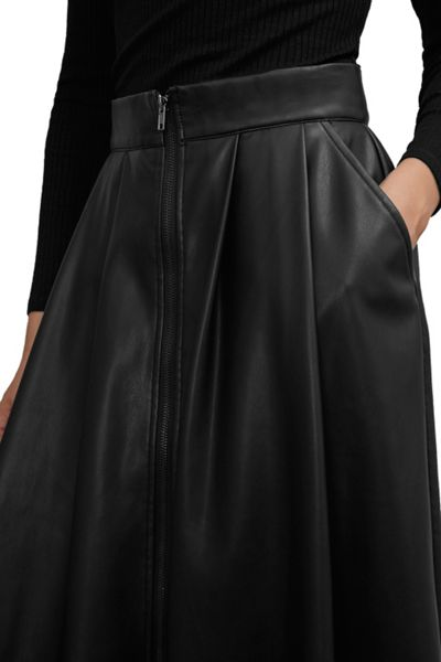 Great Plains Seattle Faux Leather Zip Skirt