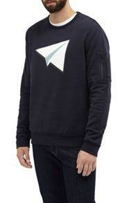 French Connection Paper Plane Jersey Sweatshirt