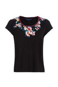 French Connection River Daisy Printed Stitch Neck T-Shirt