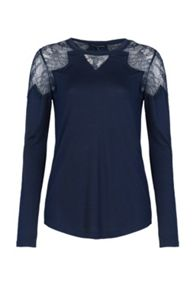 French Connection Juliette Lace Insert Jersey Top