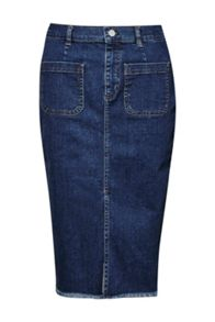 French Connection Poppy Denim Frayed Pencil Skirt