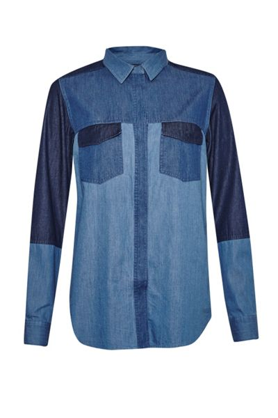 French Connection Koh Cotton Patchwork Denim Shirt