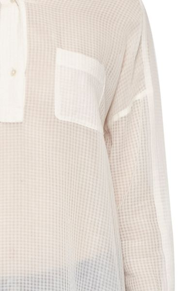 French Connection Sheer Check Pull Over Shirt
