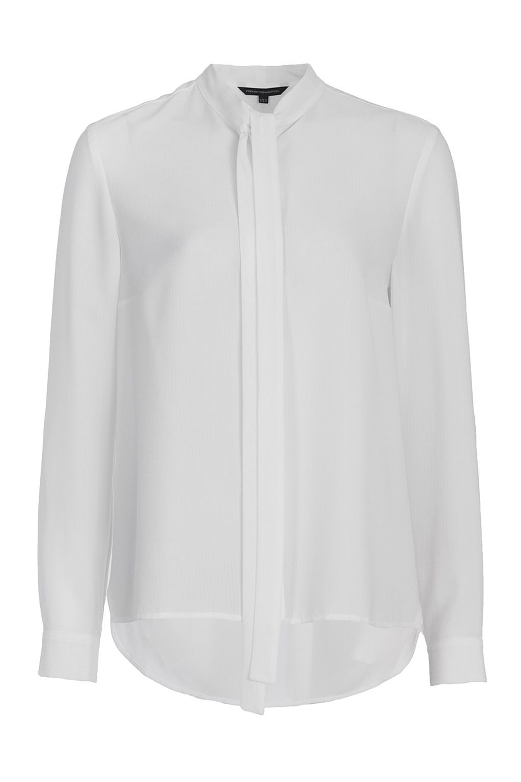 French Connection Pippa Plains Tie Neck Shirt, White