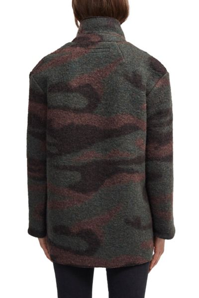 French Connection Camo Felt Coat