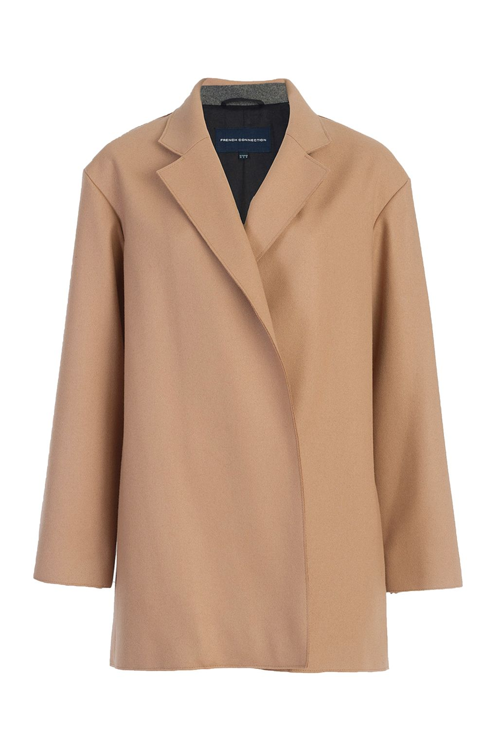 French Connection Platform Felt Oversized Coat, Brown