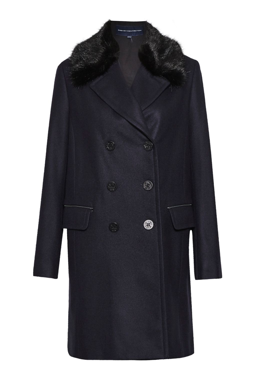 French Connection Platform Felt Faux Fur Collar Coat, Blue