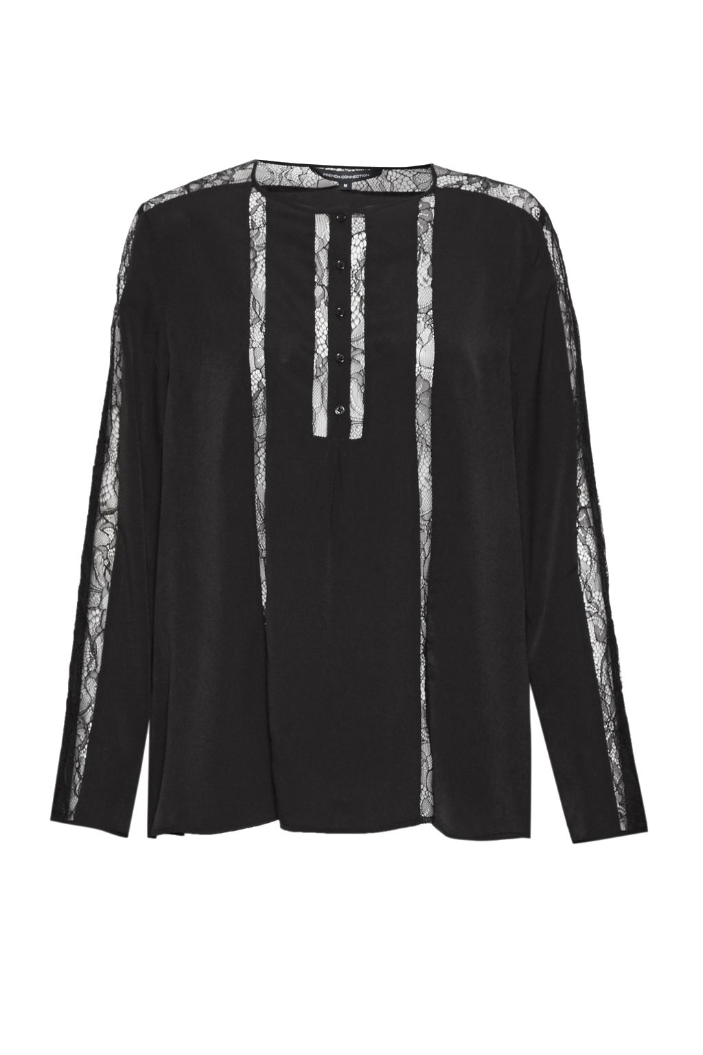 French Connection Polly Plains Lace Trim Blouse, Black