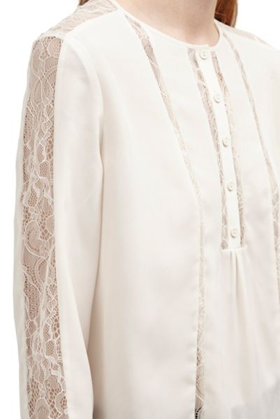 French Connection Polly Plains Lace Trim Blouse