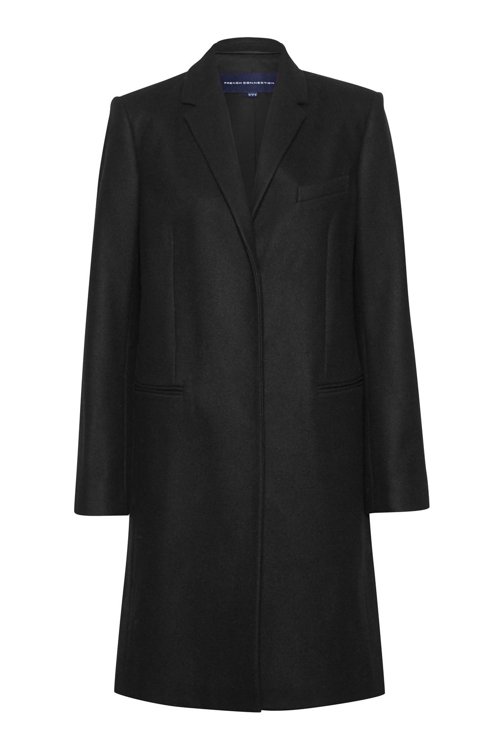French Connection Platform Felt Wool Coat, Black