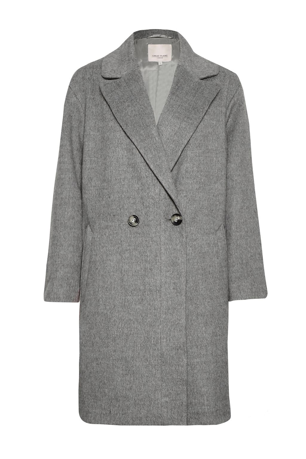 Great Plains Blenheim Wide Revere Collar Coat, Grey