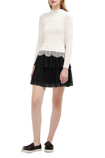 French Connection Lizzie Sheer Tiered Skirt