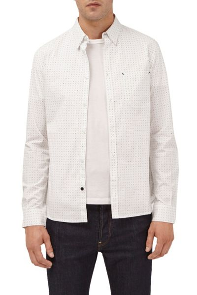 French Connection Dunite Dot Stripe Printed Shirt