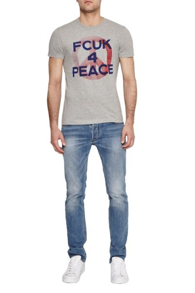 French Connection Fcuk For Peace Slogan T-Shirt