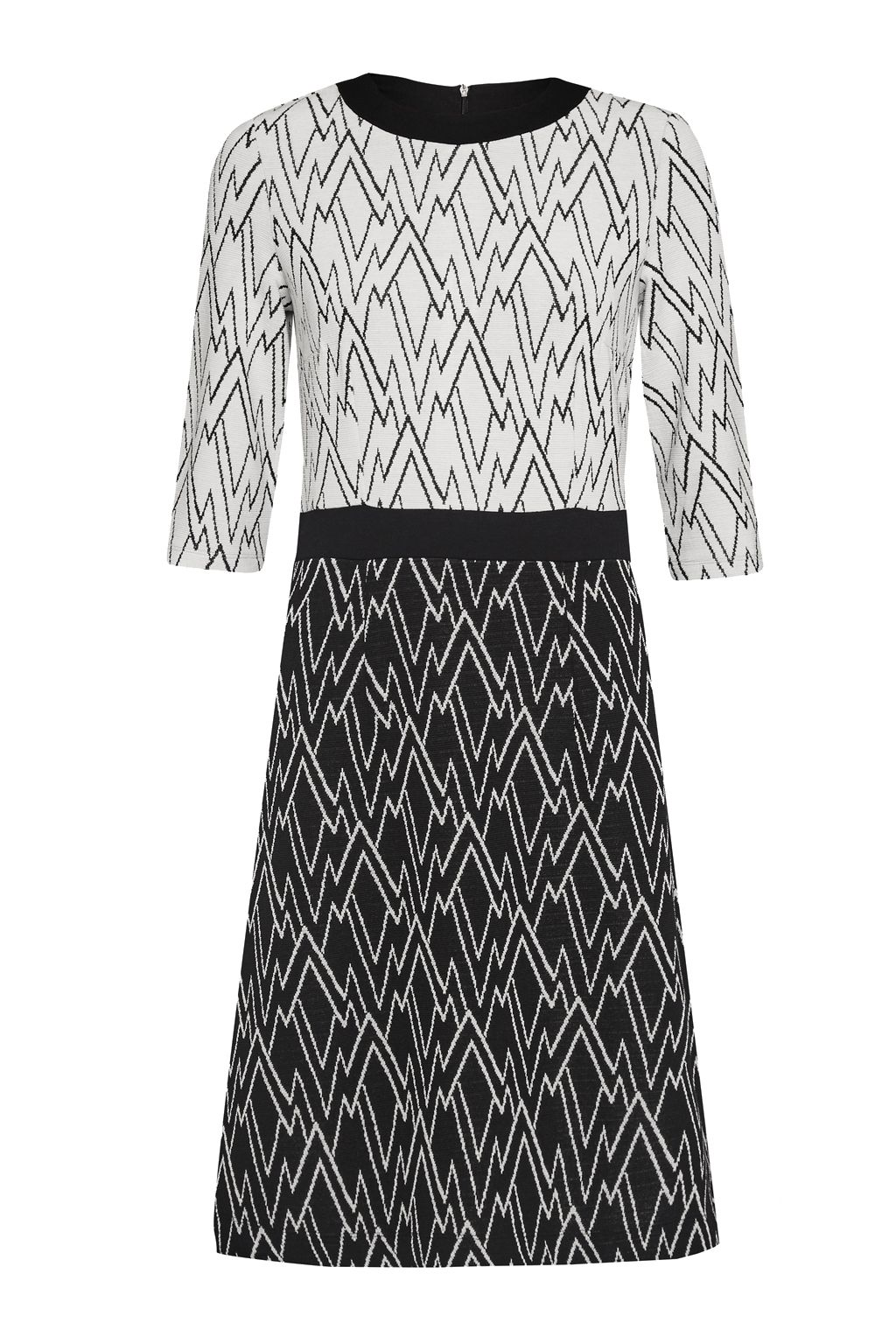Great Plains Zig Zag Ottoman Flared Dress, White