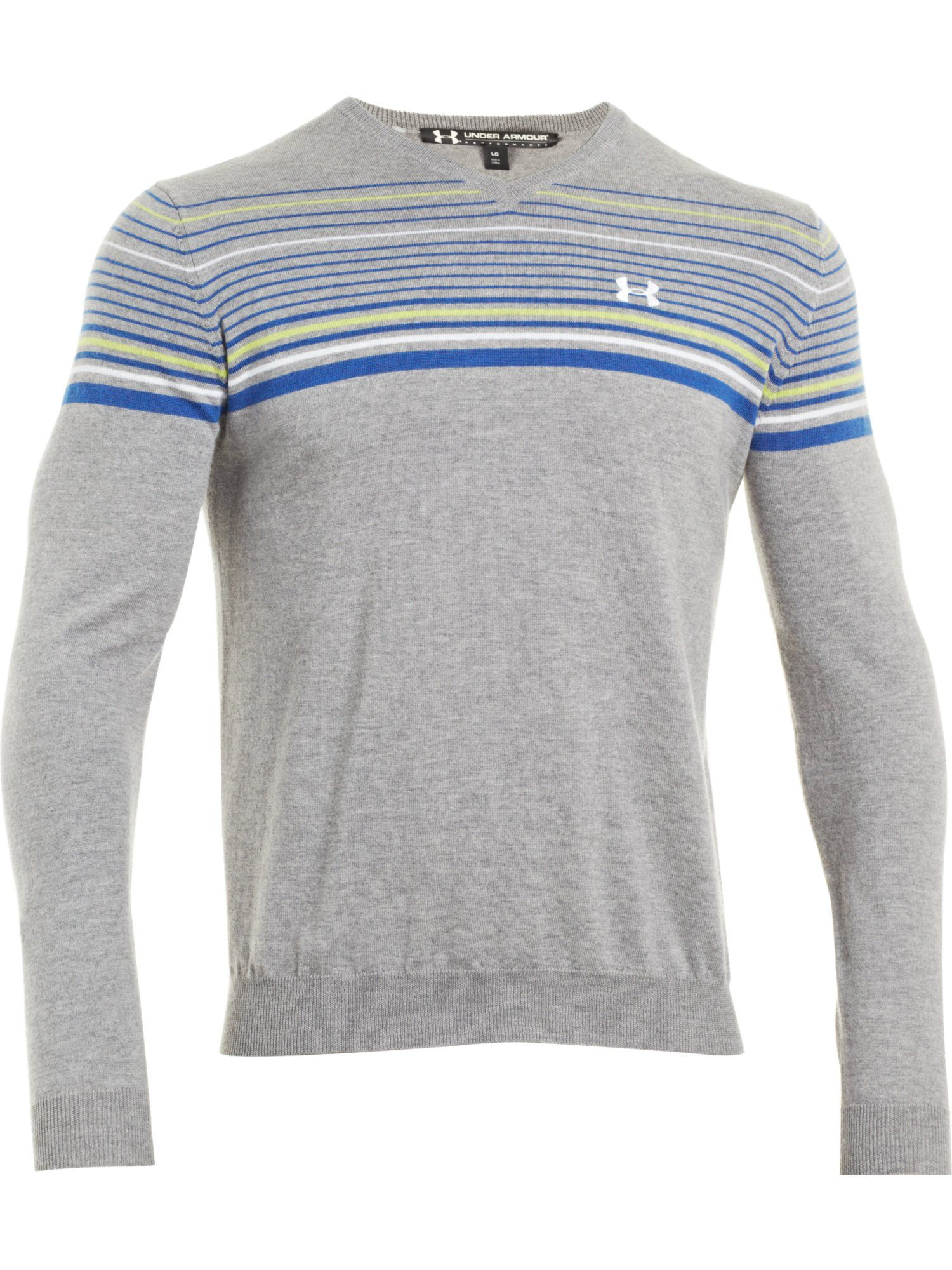 V neck chest stripe merino sweater