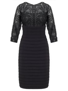 Adrianna Papell 3/4 sleeve lace bandeau dress
