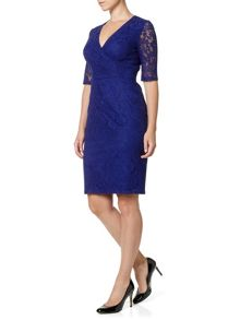 Sheer sleeve lace sheath dress