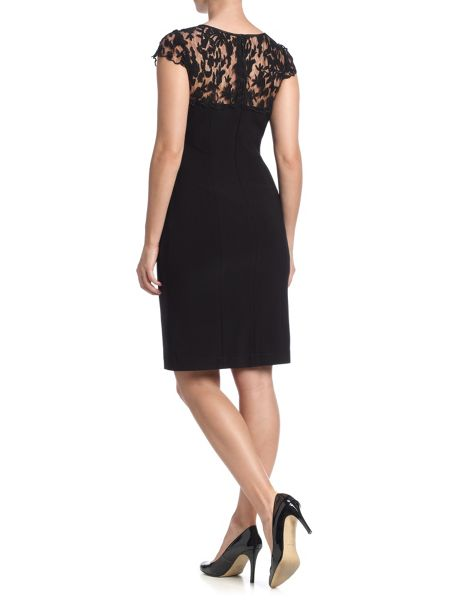 Adrianna Papell Cap sleeve sheer lace yoke shift dress