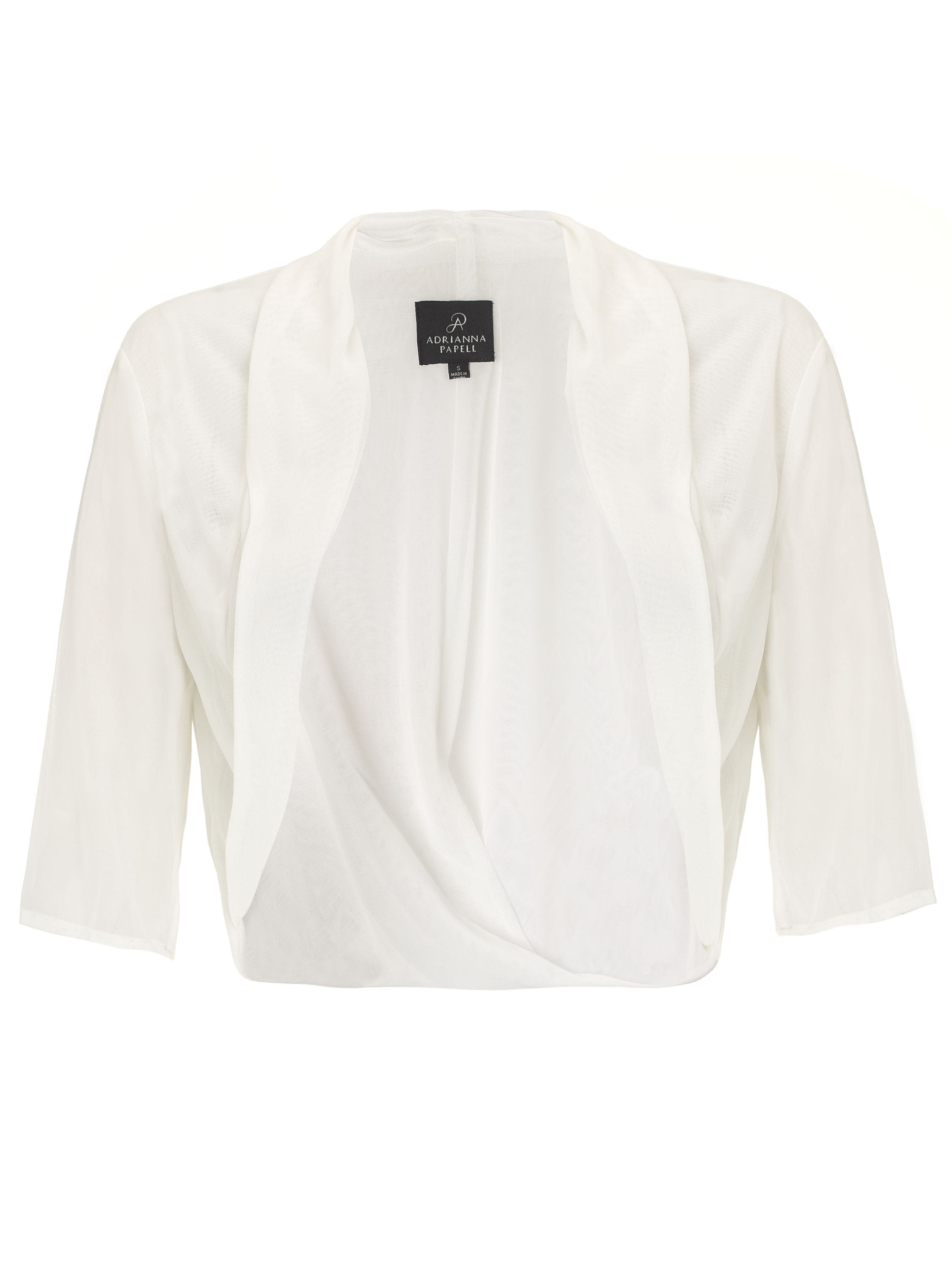 Adrianna Papell Twist back tulle shrug White