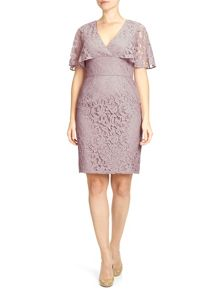 Adrianna Papell Short cape sleeve lace dress