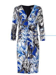 Adrianna Papell 3/4 sleeve floral jersey dress