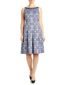Sleeveless jacquard fit and flare dress