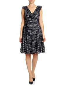 Adrianna Papell Ruffle polka dot lace summer dress