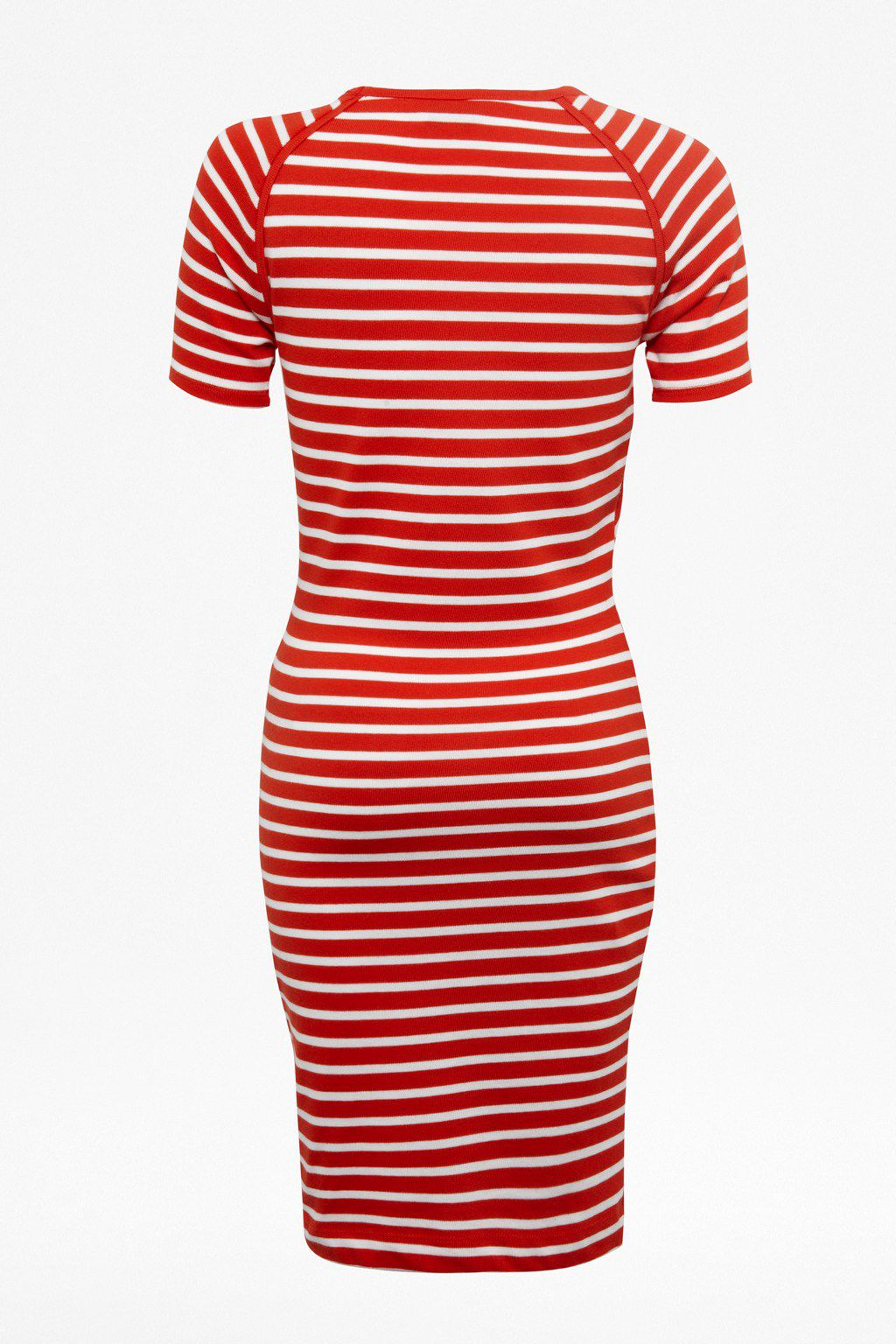 County cotton stripe round neck dress