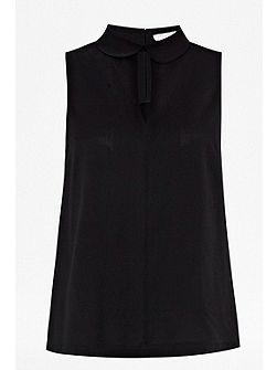 French Connection Penny plains sleeve less collared top