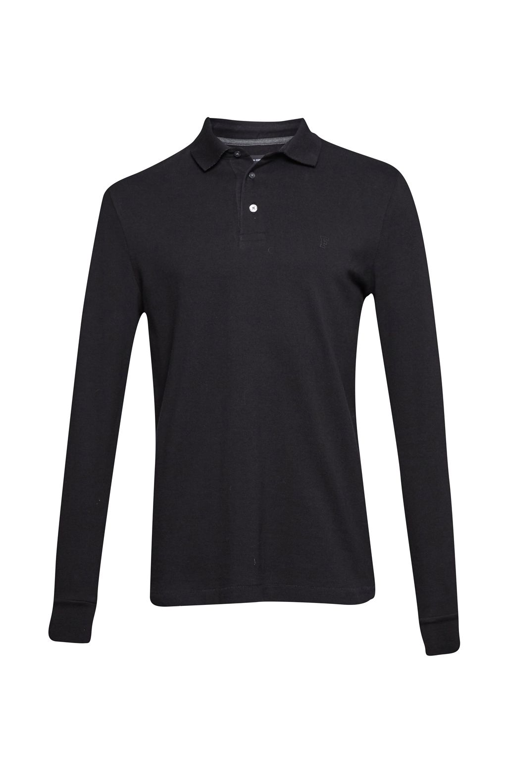 Men's French Connection Brunswick Long Sleeved Polo Shirt, Black