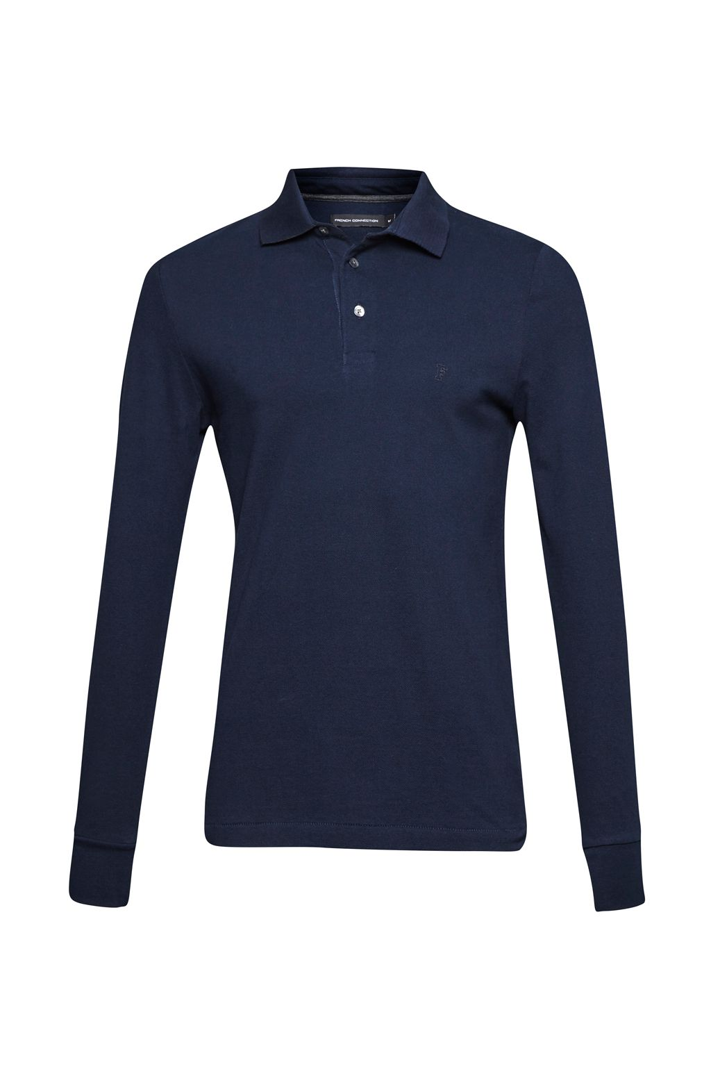 Men's French Connection Brunswick Long Sleeved Polo Shirt, Marine