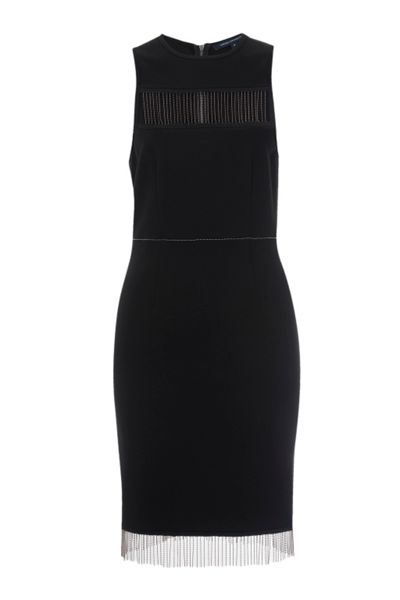 French Connection Slick Chain Trim Mini Dress