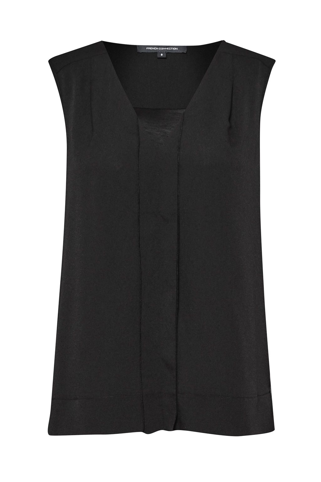 French Connection Polly Plains V Neck Top, Black