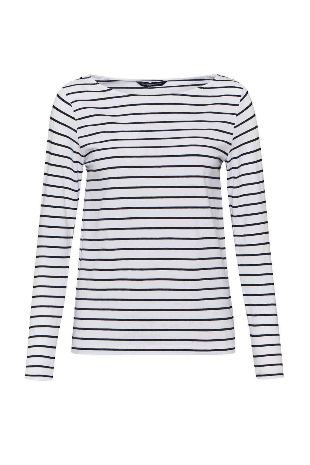 French Connection Tim Tim Long Sleeve Striped Top, White