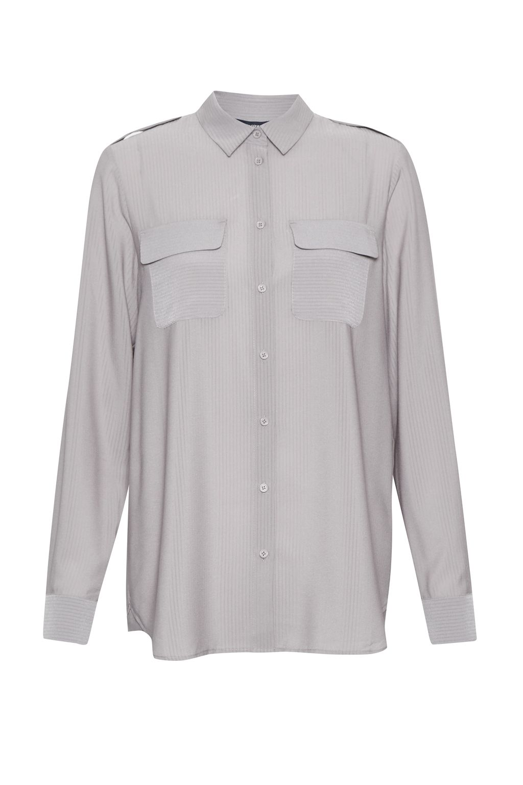 French Connection Pippa Plains Front Pockets Shirt, Grey