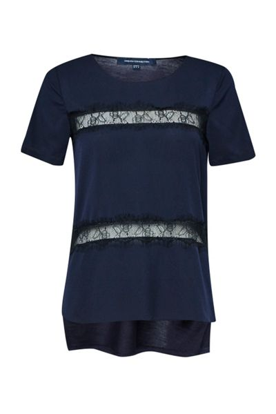 French Connection Polly Plains Lace Inserts Top