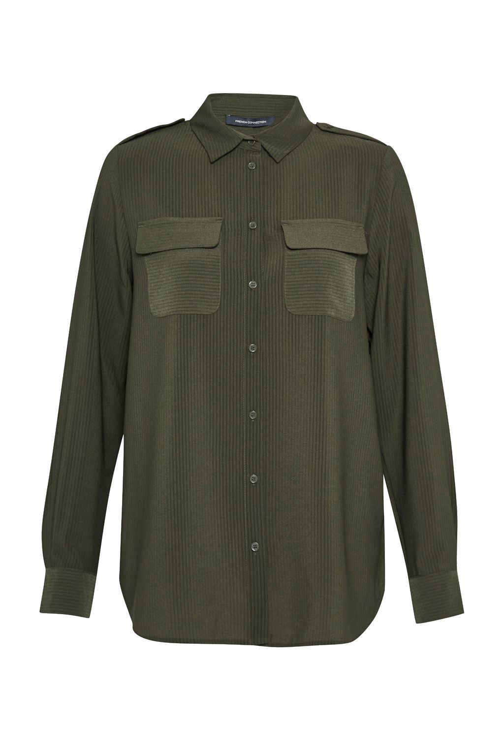 French Connection Pippa Plains Front Pockets Shirt, Green