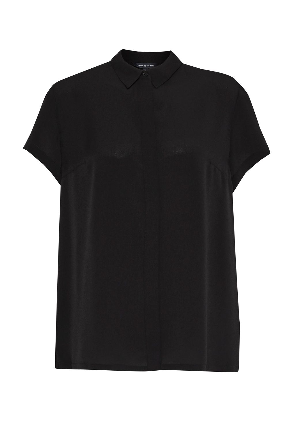 French Connection Classic Crepe Short Sleeve Shirt, Black