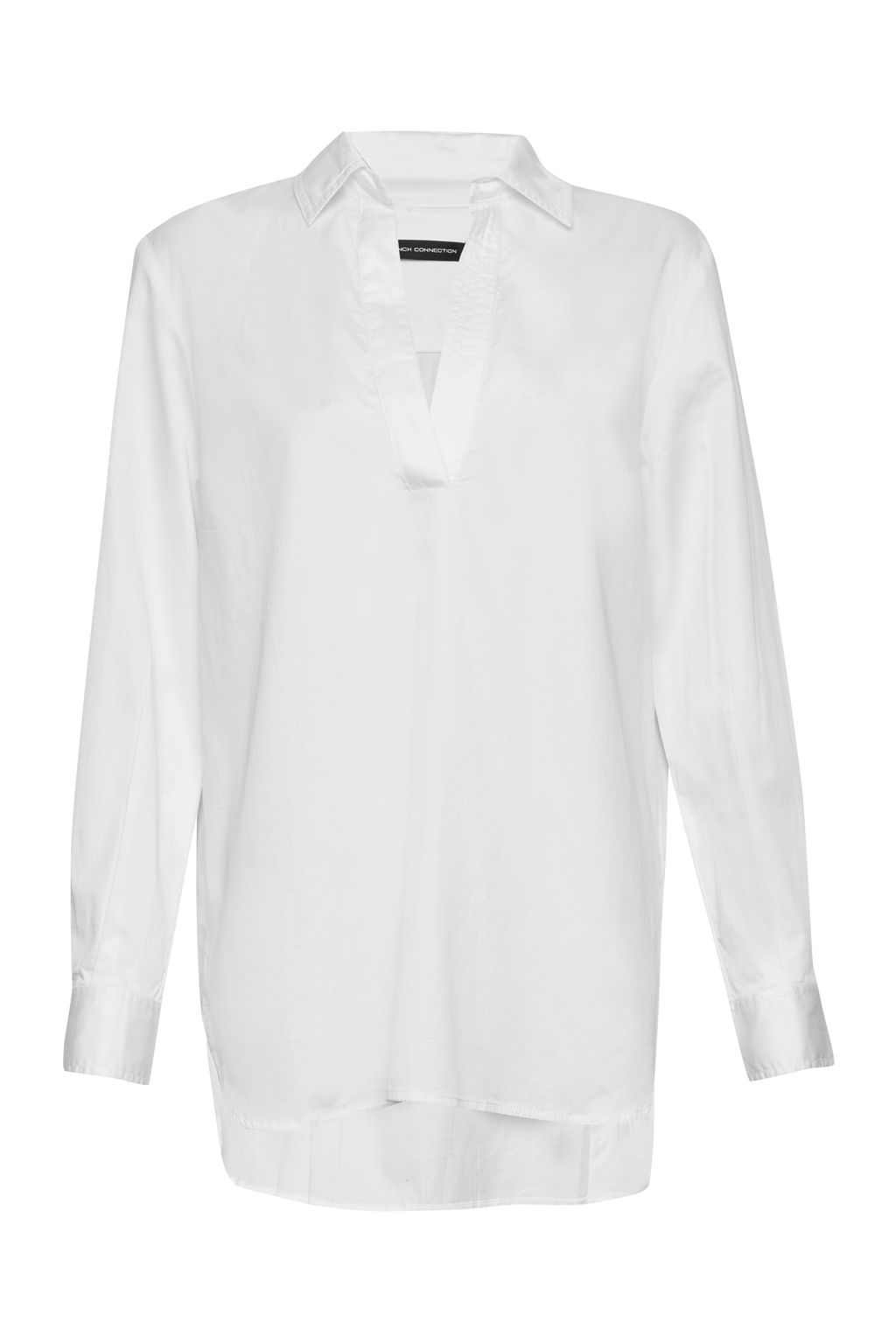French Connection Oldenburg Stitch V Neck Shirt, White