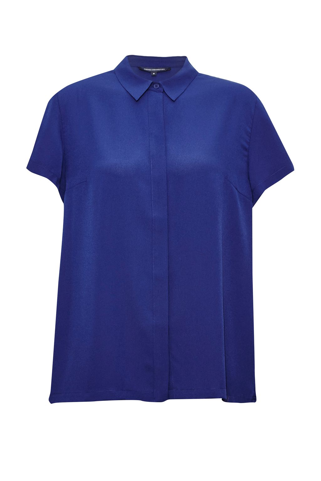 French Connection Classic Crepe Short Sleeve Shirt, Blue