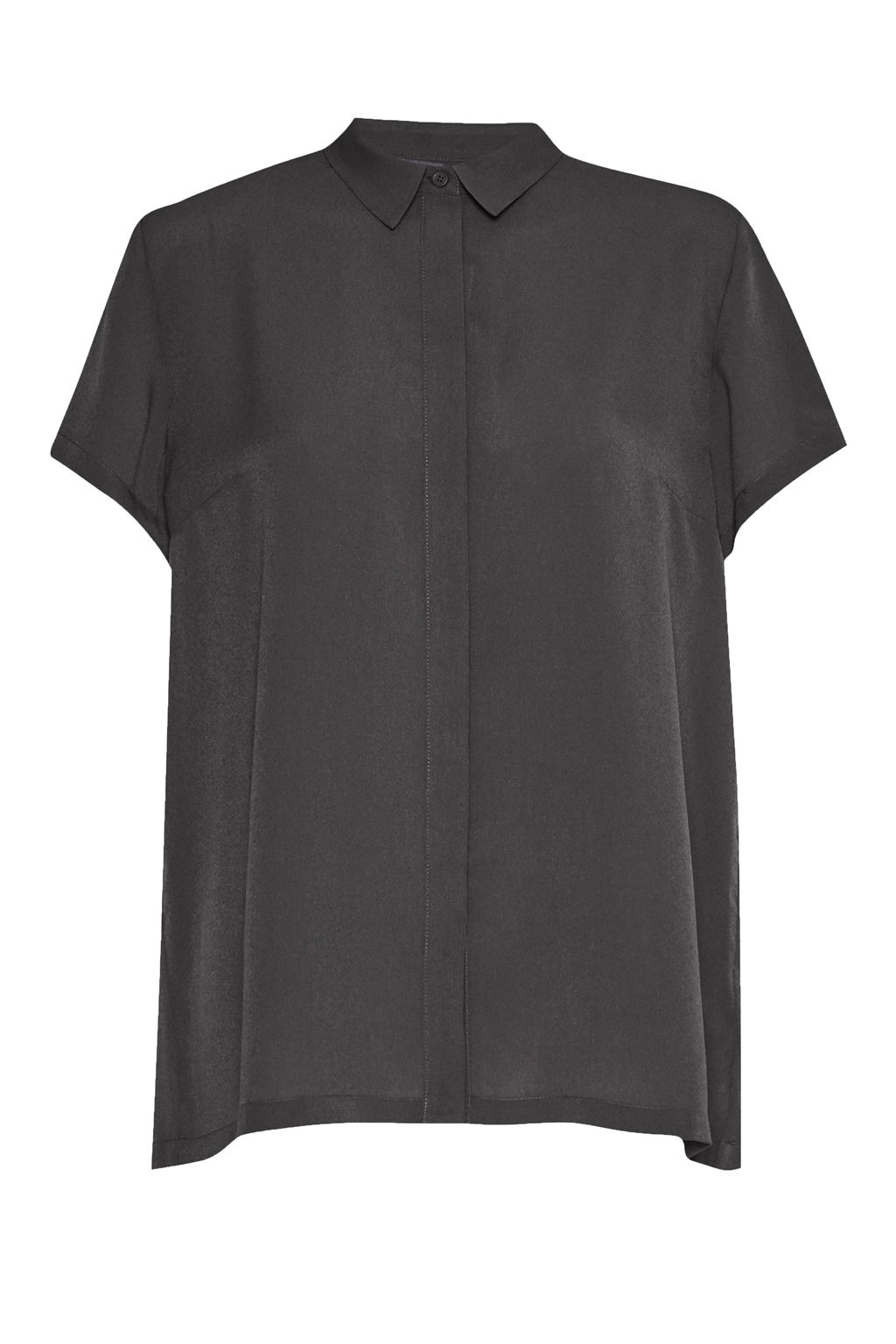 French Connection Classic Crepe Short Sleeve Shirt, Charcoal