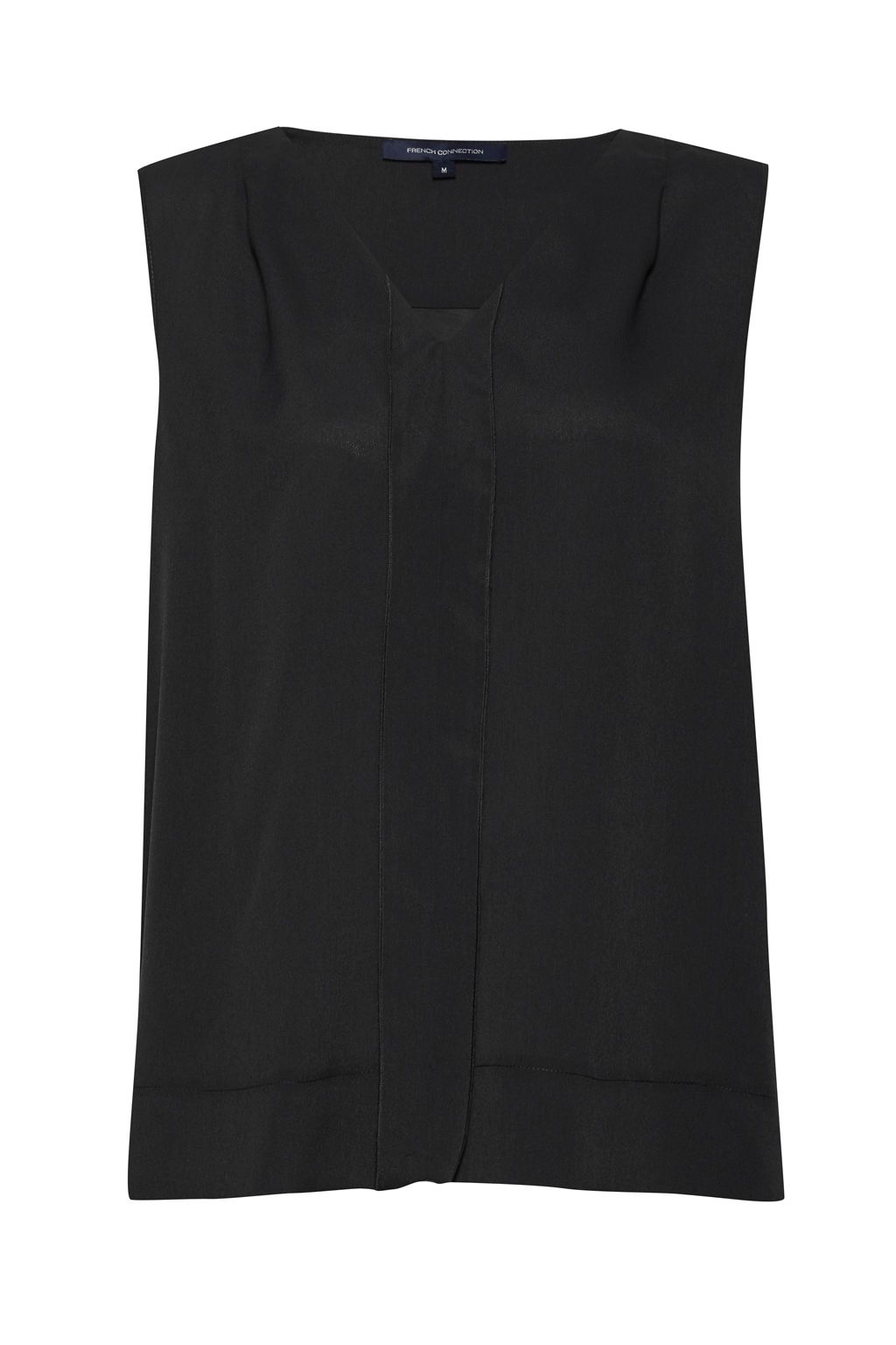 French Connection Polly Plains V Neck Top, Charcoal